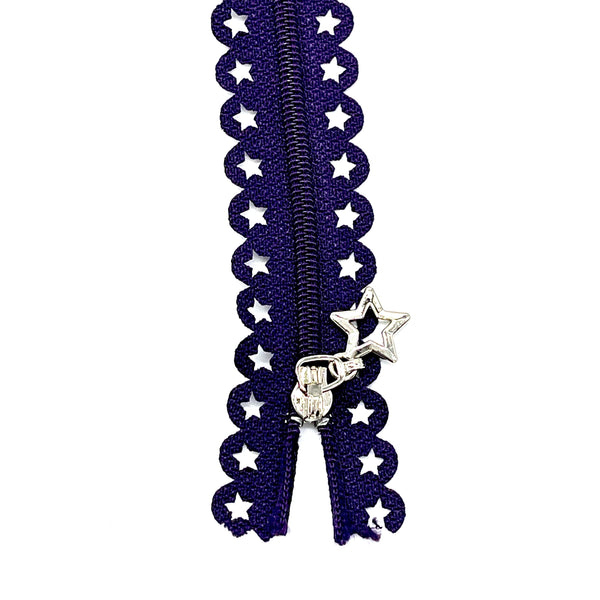 Lace Zip with Star Detail 25cm - Dark Purple