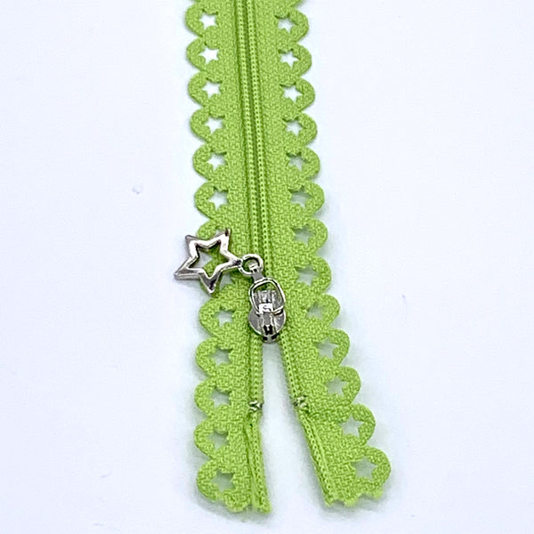 Lace Zip with Star Detail 25cm - Lime Green