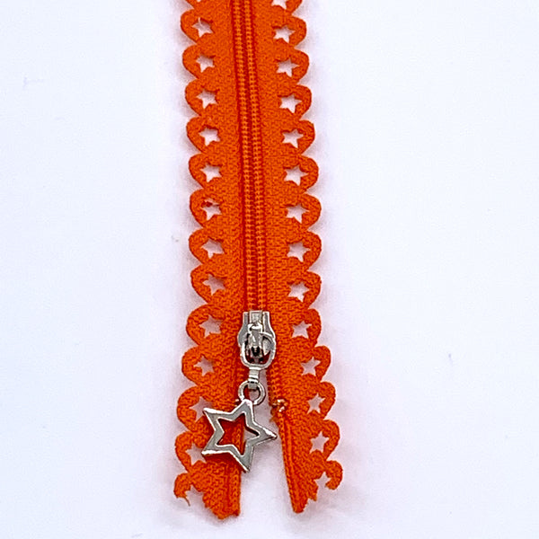 Lace Zip with Star Detail 25cm - Orange