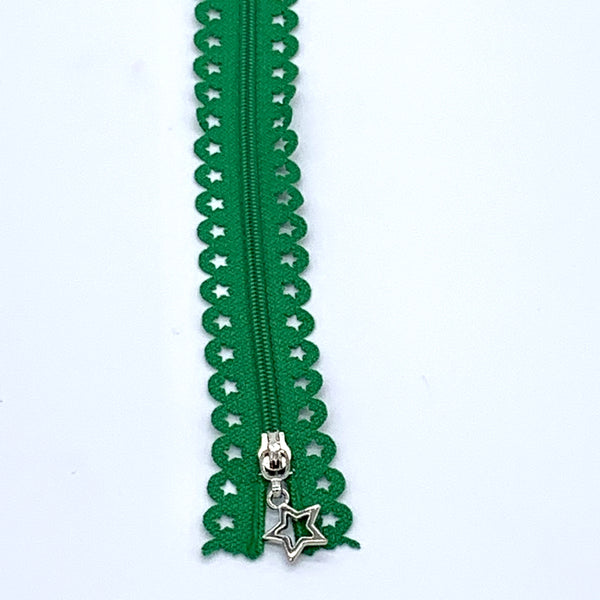 Lace Zip with Star Detail 25cm - Emerald Green