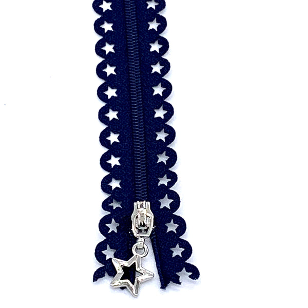 Lace Zip with Star Detail 25cm - Navy