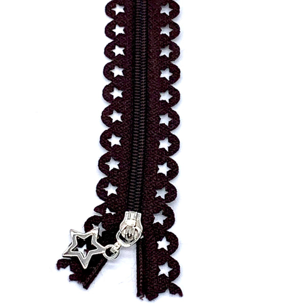Lace Zip with Star Detail 25cm - Chocolate Brown