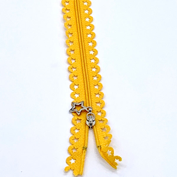 Lace Zip with Star Detail 25cm - Golden Yellow