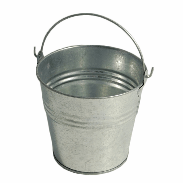 "Pail: Galvanised Metal with Handle: Bundle of 5"", 4"", 3"", & 2"" Set"