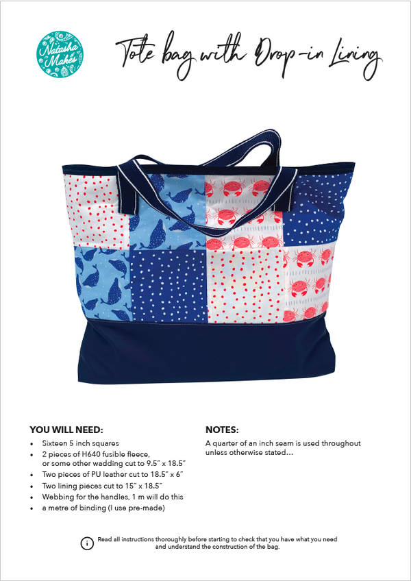 Tote bag with a drop-in lining - INSTRUCTIONS ONLY Instructions | Natasha Makes