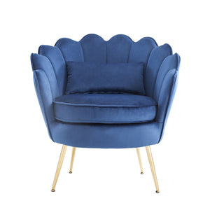 Hot Sales Upholstered Velvet Flowered accent chair with Gold-plated Legs for Living Room - Blue
