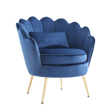 Load image into Gallery viewer, Hot Sales Upholstered Velvet Flowered accent chair with Gold-plated Legs for Living Room - Blue