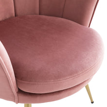 Load image into Gallery viewer, Upholstered Velvet Flowered accent chair with Gold-plated Legs for Living Room - Pink
