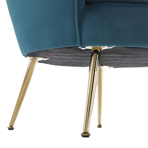 Hot Sales Upholstered Velvet Flowered accent chair with Gold-plated Legs for Living Room - Green