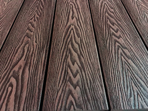 "Composite Arched Solid Deck Boards - Brown Walnut hardwood 12' (L )× 5.50"" (W)"