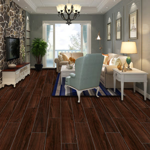 "CHL Stone Ridged Flooring 7"" x 48"" x 5.5mm SPC Luxury Vinyl Plank in Paduak"