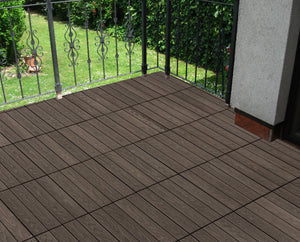 "COL 12"" x 12"" Composite Interlocking Deck Tiles Wood Grain - Concrete Gray"