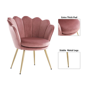 Upholstered Velvet Flowered accent chair with Gold-plated Legs for Living Room - Pink