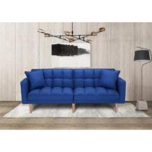 Load image into Gallery viewer, FUTON FABRIC NAVY BLUE SLEEPER SOFA WITH 2 PILLOWS
