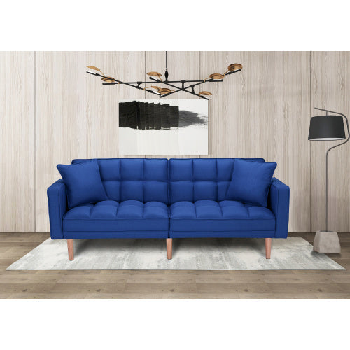FUTON FABRIC NAVY BLUE SLEEPER SOFA WITH 2 PILLOWS
