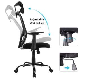 Qwork Ergonomic Office Chair Adjustable Headrest Mesh Office Chair Office Desk Chair Computer Task Chair