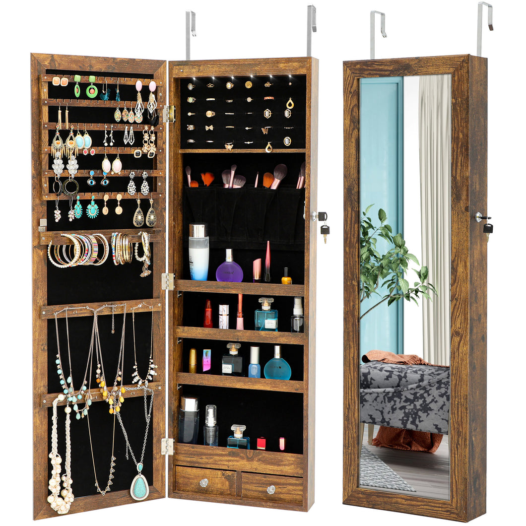 Free shipping Fashion Simple Jewelry Storage Mirror Cabinet With LED Lights Can Be Hung On The Door Or Wall