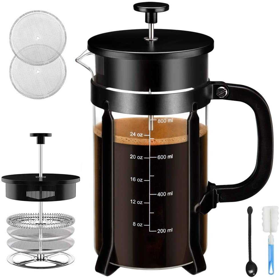 French Press Coffee Maker - 4 Level Filtration System - 304 Grade Stainless Steel - Heat Resistant Borosilicate Glass, 34 Oz, 8 Cup, Black