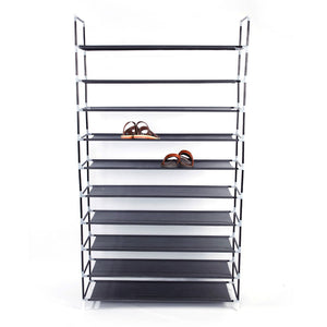 Simple Assembly 10-Tiers Non-woven Fabric Shoe Rack with Handle Black US Stock
