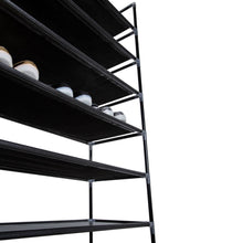 Load image into Gallery viewer, Simple Assembly 10-Tiers Non-woven Fabric Shoe Rack with Handle Black US Stock