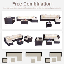 Load image into Gallery viewer, 7 Pieces Patio Furniture Weaving Rattan Sofa Set Sectional Seating Group with Beige Cushion