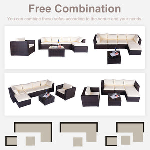 7 Pieces Patio Furniture Weaving Rattan Sofa Set Sectional Seating Group with Beige Cushion