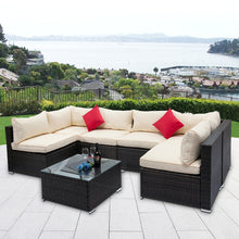 Load image into Gallery viewer, Outdoor Patio Furniture 7 Pieces Patio Furniture Wicker Sofa Set Sectional Seating Group Rattan Sofa Set, with Washable Seat Cushions and Modern Glass Coffee Table (Beige Cushion)