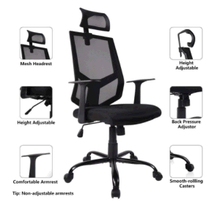 Load image into Gallery viewer, Qwork Ergonomic Office Chair Adjustable Headrest Mesh Office Chair Office Desk Chair Computer Task Chair