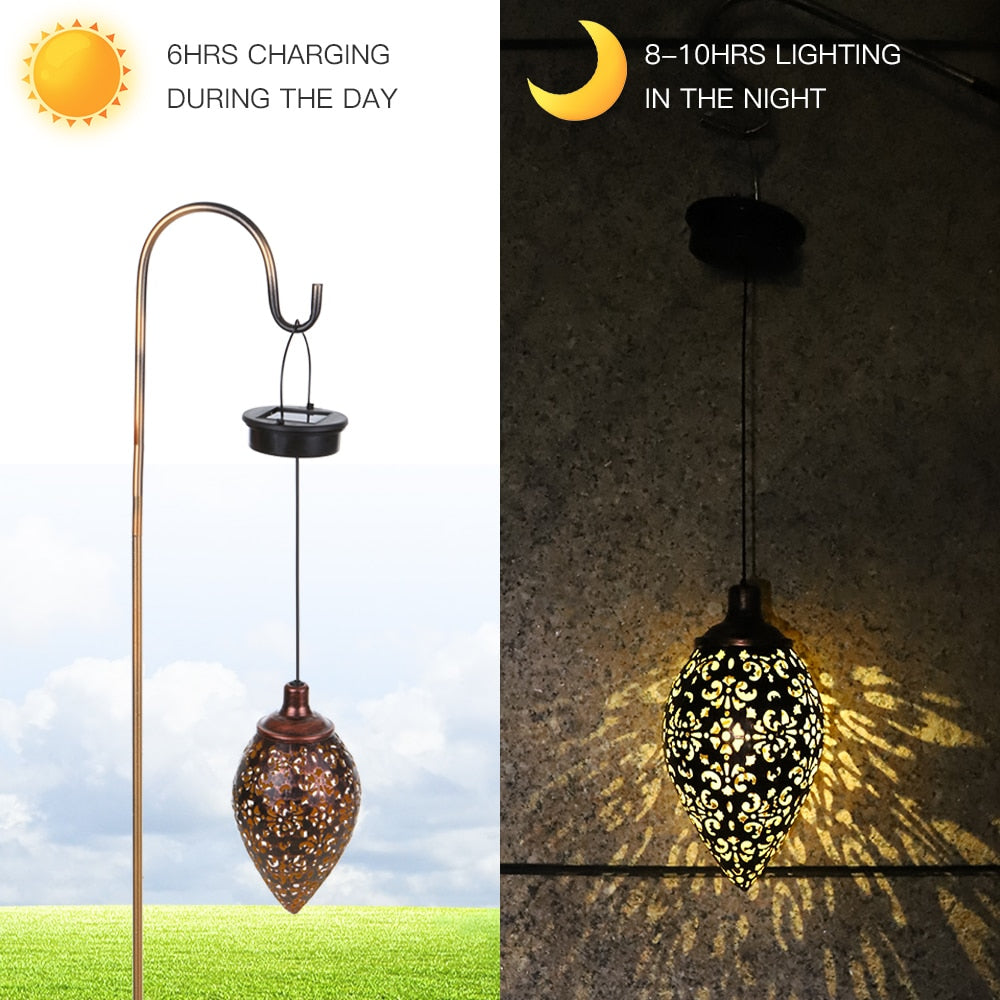 Waterproof Solar Garden Light Solar Powered Lamp Hanging LED Ceiling Light Solar Light Decorative Lighting Lantern Yard Pathway
