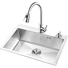 Load image into Gallery viewer, Brushed Finish Kitchen Sink Single Bowl Above Counter Stainless Steel Kitchen Sink with Faucet AU2863