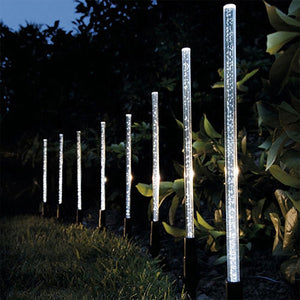 8Pcs Solar Tube Light Bubbles Stick Solar Lamp Pathway Lawn Landscape Decoration Acrylic Outdoor Garden Patio Lamps Set