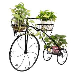 Metal Stand Plant Rack Flower Shelf Balcony Pot Plant Stand Garden Decor Flower Rack Wrought Iron Bicycle Style