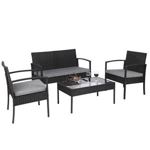 4 PCS Outdoor Patio Rattan Wicker Furniture Set with Table Sofa Cushioned Black ,rattans garden chair , patio set .