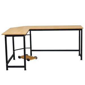 L-Shaped Desktop Computer Desk Black and Beech Wood Color , office desk, study table, standing desk, sturdy, stable and durable.
