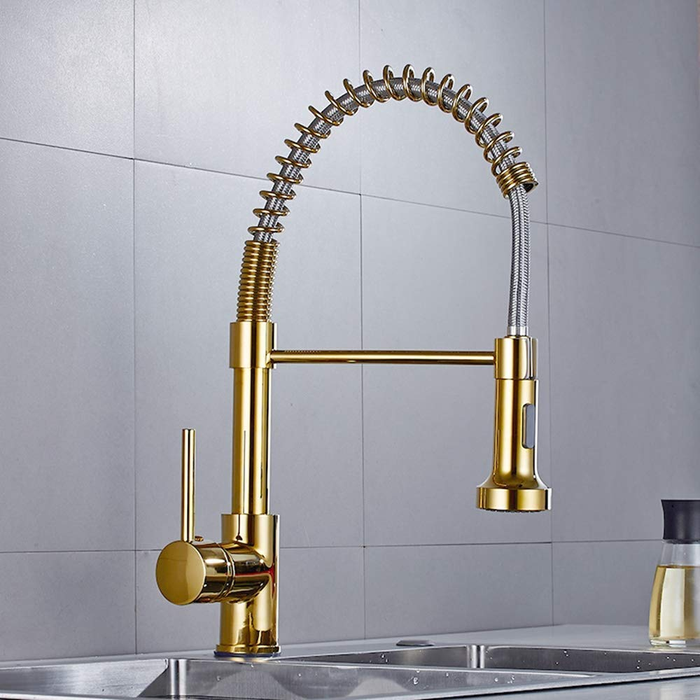 Solid Brass Kitchen Faucet Gold Polished Brass Spring Kitchen Sink Faucet Single Hand Modern Hot and Cold Water gold Pull Out