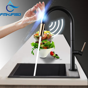 FMHJFISD Kitchen Faucet Black White Pull Out Rotation Stream Spray Mixer Tap Hot Cold Crane Deck Mounted Faucet