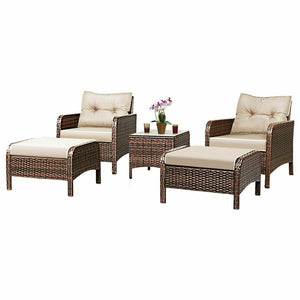 GIANTEX Outdoor Garden 5pcs/Set Patio Chairs Table Rattan Sofa Ottoman Furniture Set With Cushions HW54520