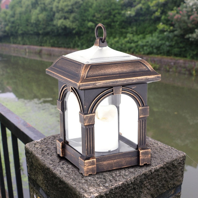 Retro Solar Candle Lantern Outdoor Path Garden Lawn Solar Hanging Light Garden Decoration Waterproof LED Light Solar Lights