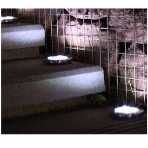 8 LED Solar Lawn Lamp Solar Power Buried Light Under Ground Lamp Outdoor Path Way Garden Decking Light White Warm White