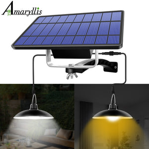 Solar Pendant Light Outdoor Indoor Hanging Solar Powered Shed Lights Waterproof Decoration Lamp for Barn Farm Garden Yard Patio