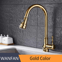 Load image into Gallery viewer, Kitchen Faucet Brass Brushed Nickel High Arch Kitchen Sink Faucet Pull Out Rotation Spray Mixer Tap Torneira Cozinha GYD-7117