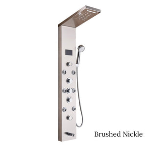 Luxury Brushed Nickle/Black Bathroom Shower Faucet LED Shower Panel Column Bathtub Mixer Tap With Hand Shower Temperature Screen