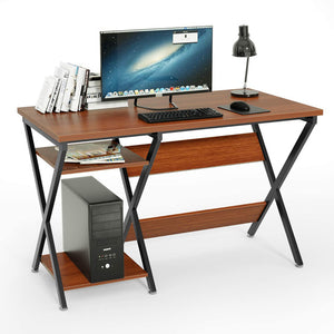 47inch Computer Desk Modern Rustic Desk with Storage Rack Wooden Office Desk for Home Studio Series Living Room