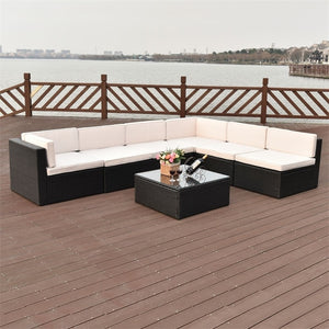 7 pcs Patio Rattan Wicker Furniture Set  Chaise Lounge Love Seat Steel Tube Construction Water Resistant Beach Chairs