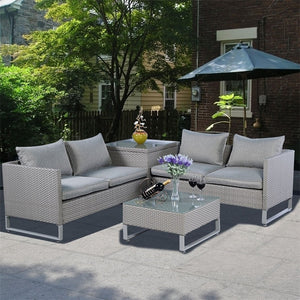 4 Pcs Rattan Patio Sofa Cushioned Seat Gray Garden Wicker Sets Weather-proof Deck Pool Side Backyard Outdoor Furniture HW51571+