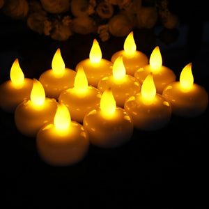 12pcs/pack Waterproof Floating Candles LED Candle Tea Light Flameless Electronic Candle Battery Candle Lamp for Bath SPA Pray