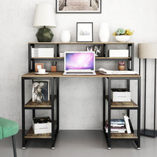 "Load image into Gallery viewer, Computer Desk with Hutch DEWEL 47"" Office Desk Gaming Table Writing Study Table Workstation with 2 Storage Bookshelf for Home"