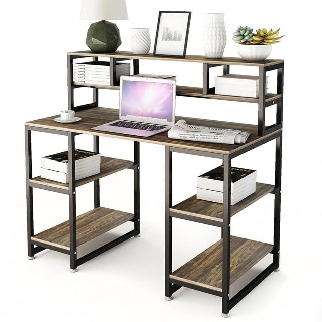 "Computer Desk with Hutch DEWEL 47"" Office Desk Gaming Table Writing Study Table Workstation with 2 Storage Bookshelf for Home"