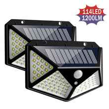 Load image into Gallery viewer, 114/100 LED Solar Light Outdoor Solar Lamps PIR Motion Sensor Wall Light Waterproof Solar Sunlight Powered Garden street lights