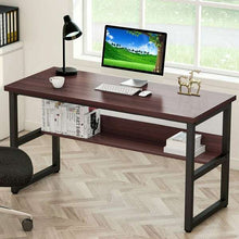 Load image into Gallery viewer, Computer Desk with Bookshelf Metal Office Desk, Home Office Desk with Storage Bookshelf Computer Desk Study Table Work Station